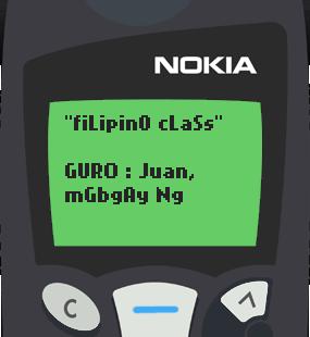 Text Message 28: Tayutay in Nokia 5110