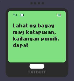 Text Message 62: Kailangan pumili in TxtBuff 1000