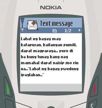 Text Message 62: Kailangan pumili in Nokia 6600