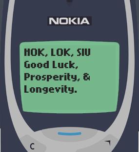 Text Message 2877: Hok Lok Siu in Nokia 3310