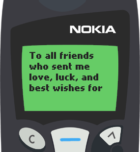 Text Message 2883: To all my friends who sent me wishes in Nokia 5110