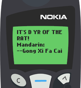 Text Message 2901: Its the year of the rat! in Nokia 5110