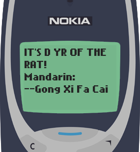 Text Message 2901: Its the year of the rat! in Nokia 3310