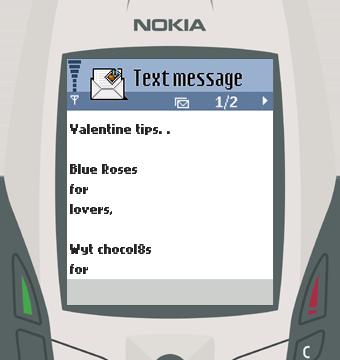 Text Message 2902: Valentine tips in Nokia 6600