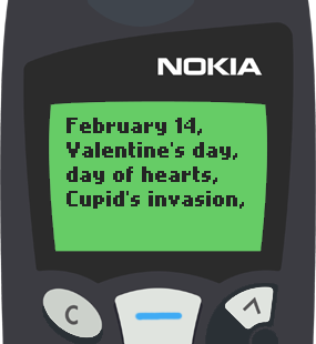 Text Message 2936: February 14 in Nokia 5110