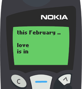Text Message 2938: February, love is in the air in Nokia 5110
