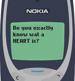 Text Message 774: Do you know what a heart is? in Nokia 3310