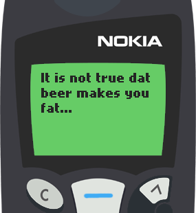 Text Message 830: Beer makes you lean in Nokia 5110